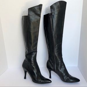 VTG Chanel Black Over Knee 3' Heels Boots SZ 39